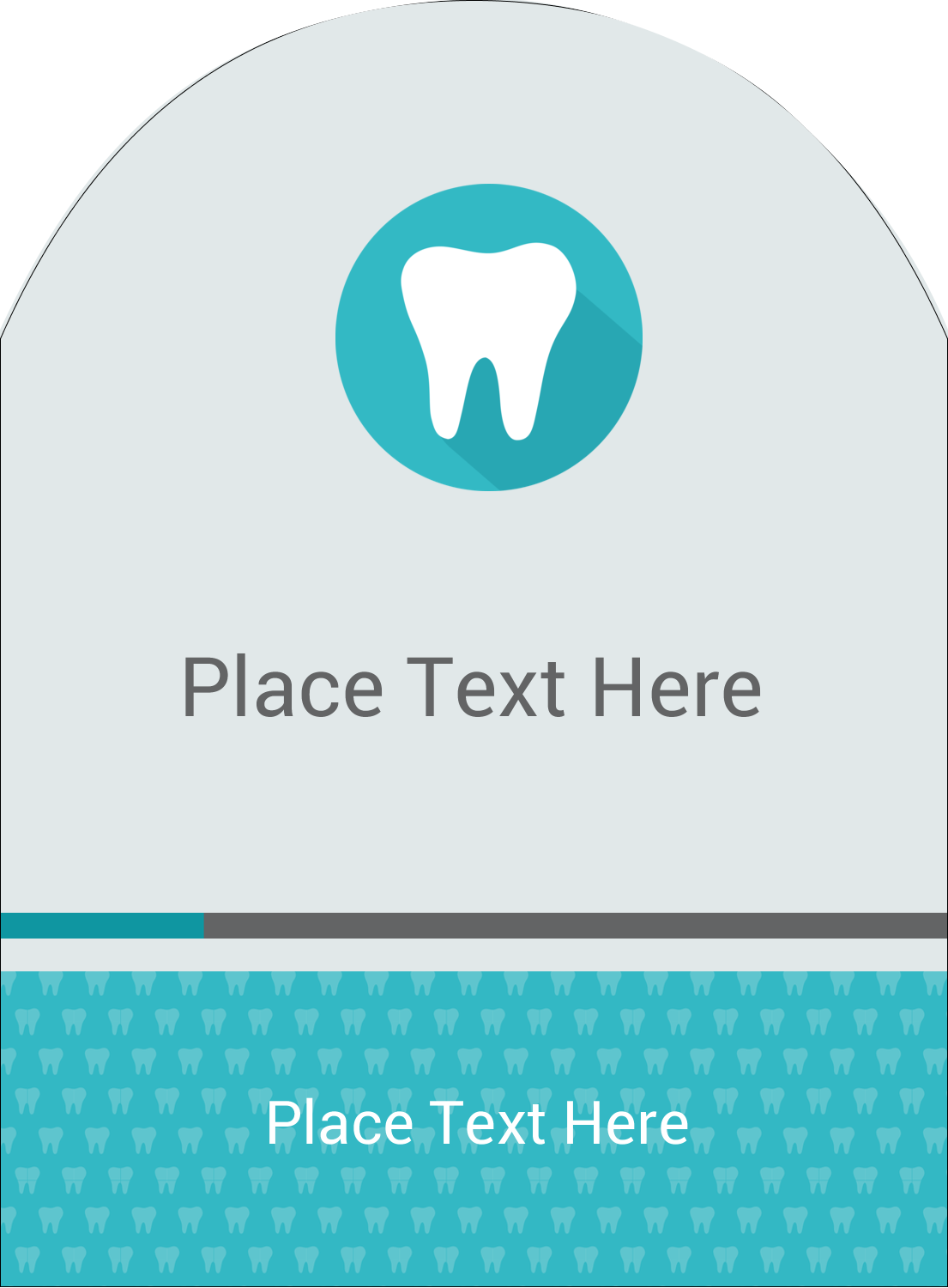 """4¾"""" x 3½"""" Arched Label - Dentist Tooth"""