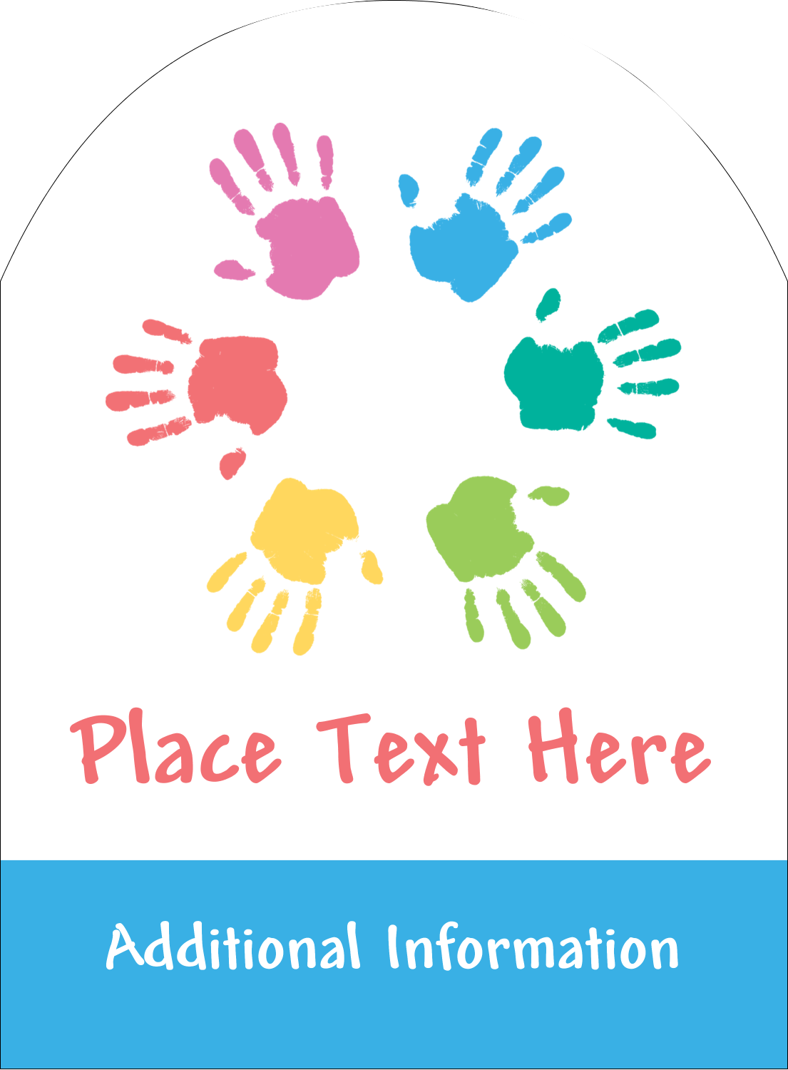 """4¾"""" x 3½"""" Arched Label - Childcare Hands"""