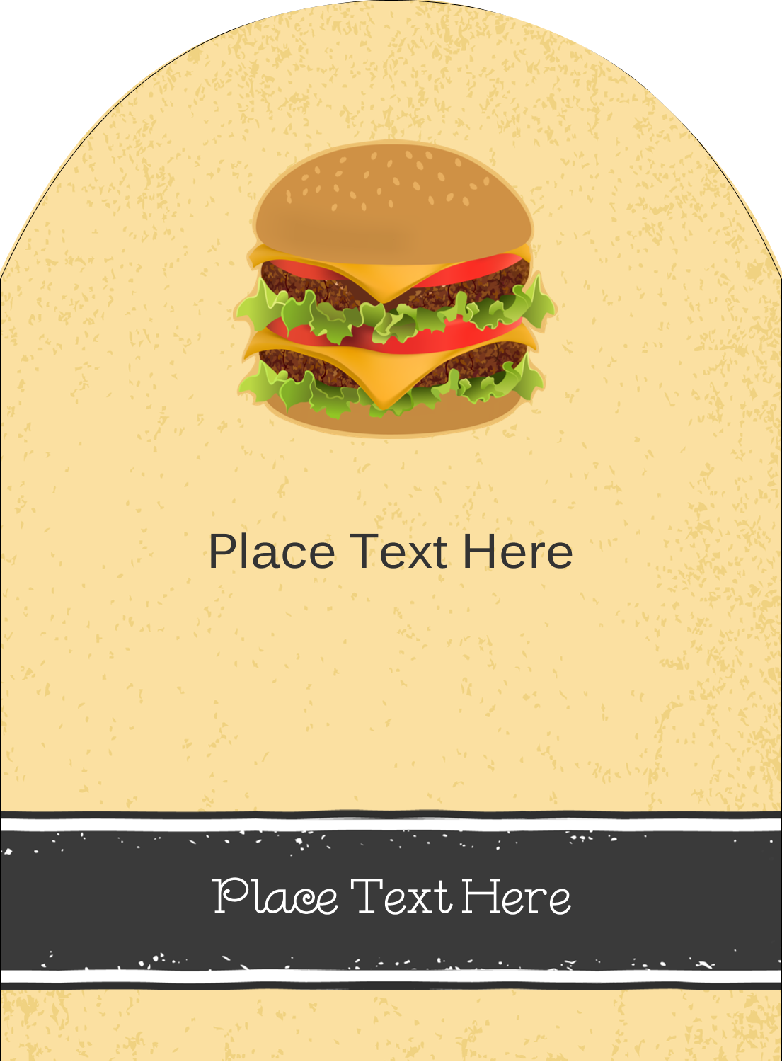"4¾"" x 3½"" Arched Label - Burger"