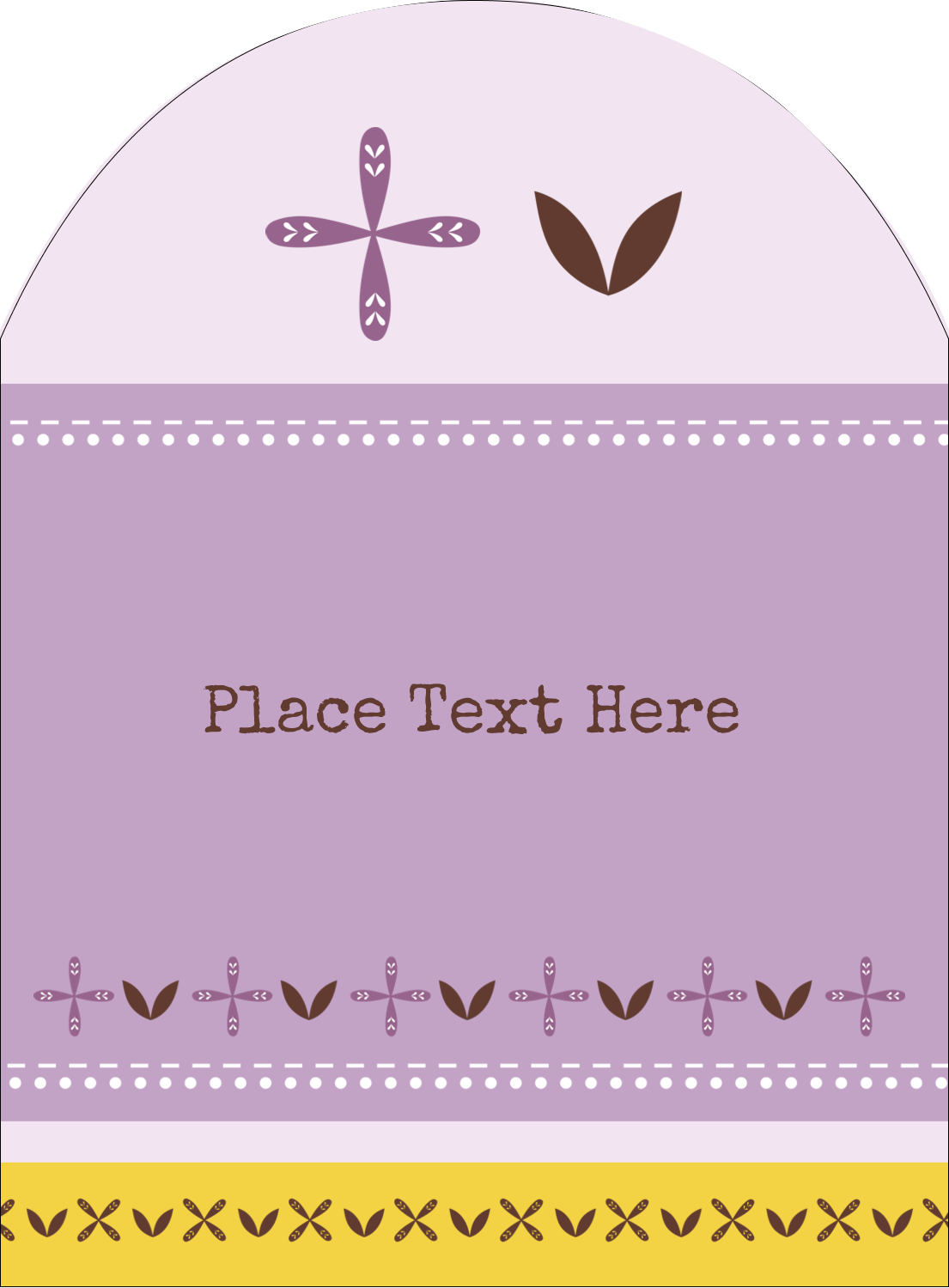 "4¾"" x 3½"" Arched Label - Geometric Lavender Blossoms"