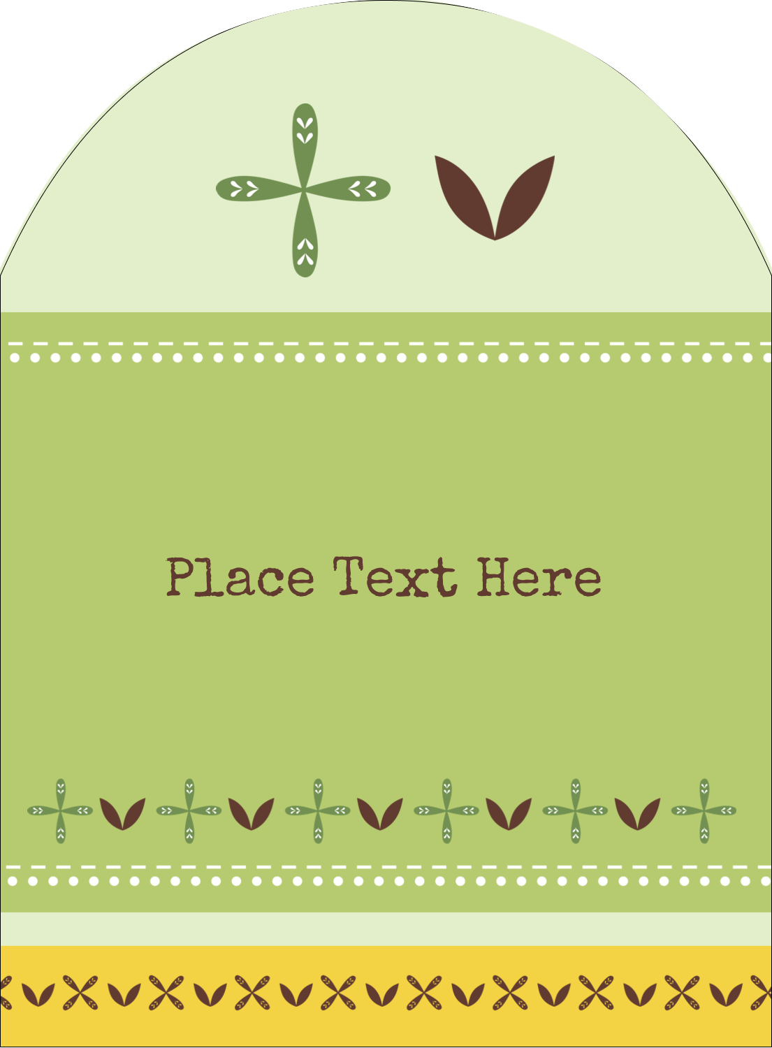 "4¾"" x 3½"" Arched Label - Geometric Green Blossoms"