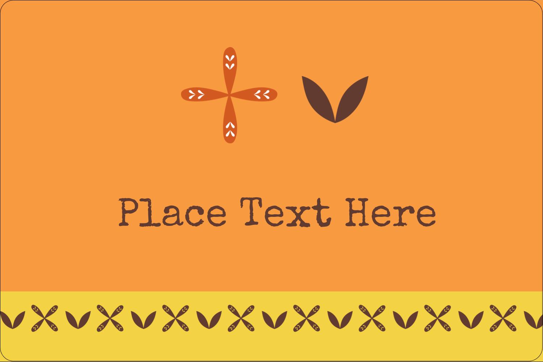 "2"" x 3"" Rectangular Label - Geometric Orange Blossoms"