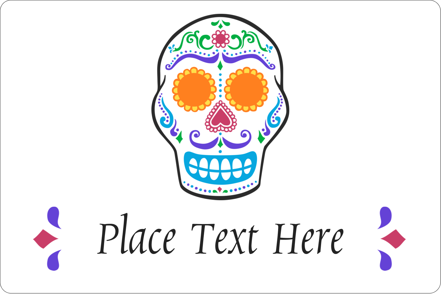 "2"" x 3"" Rectangular Label - Day of the Dead Skull"
