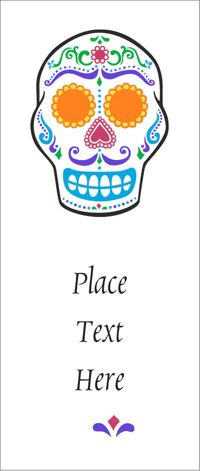 """1¾"""" x 5½"""" Printable Tickets - Day of the Dead Skull"""