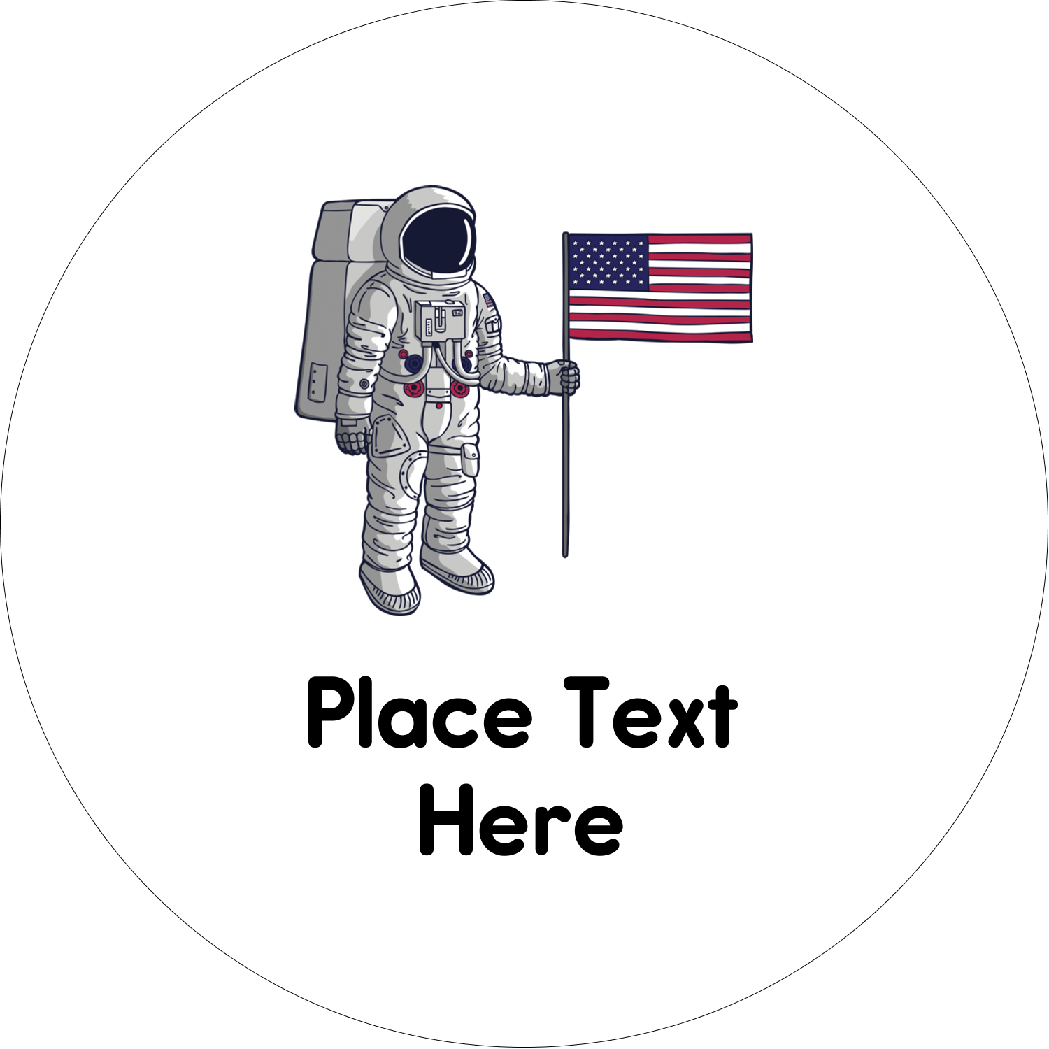 "2"" Embossed Round Label - Astronaut"
