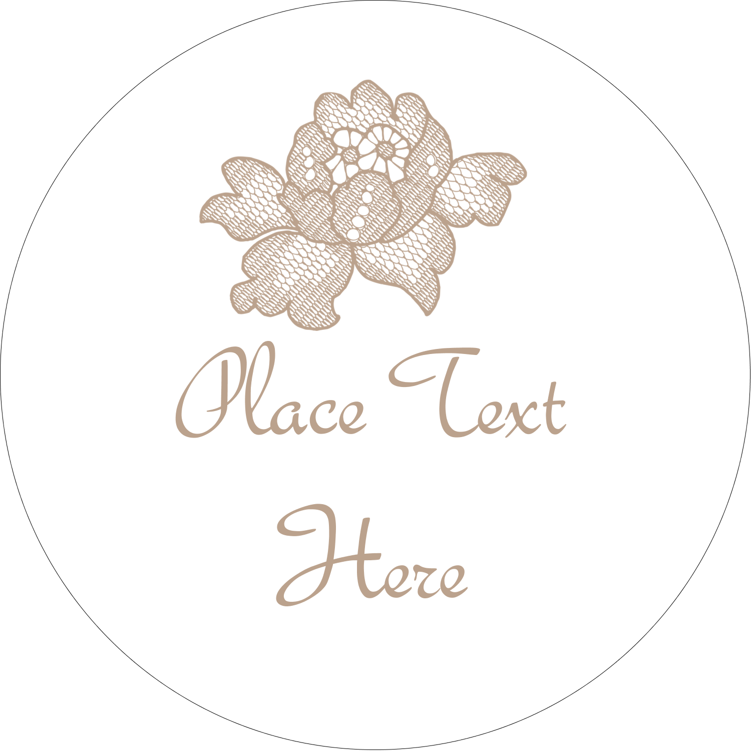 "2"" Embossed Round Label - Burlap Lace"