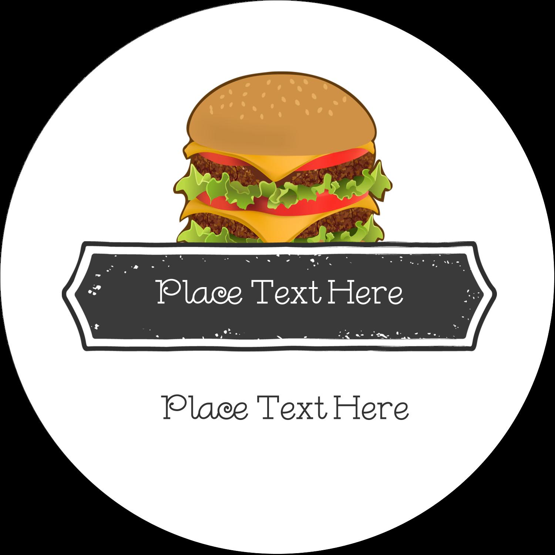 "2"" Embossed Round Label - Burger"