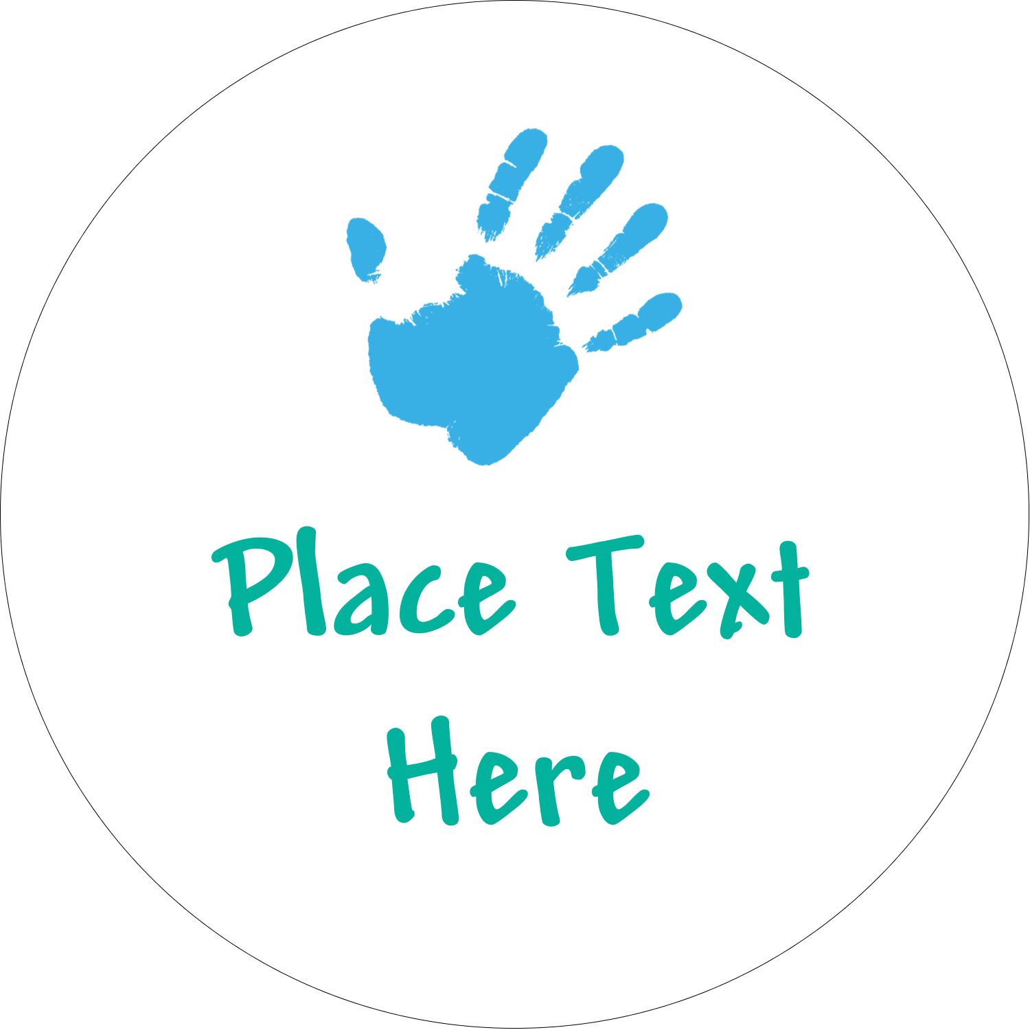 """2"""" Embossed Round Label - Childcare Hands"""