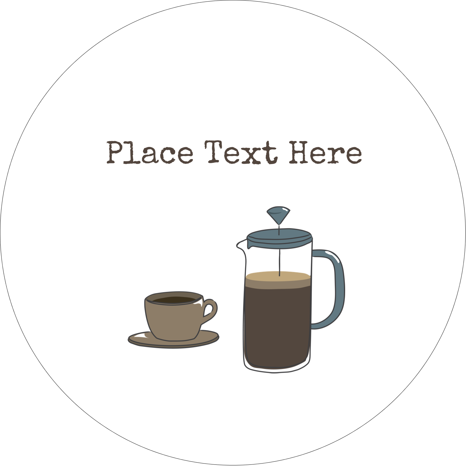 "2"" Embossed Round Label - Coffee Suite"