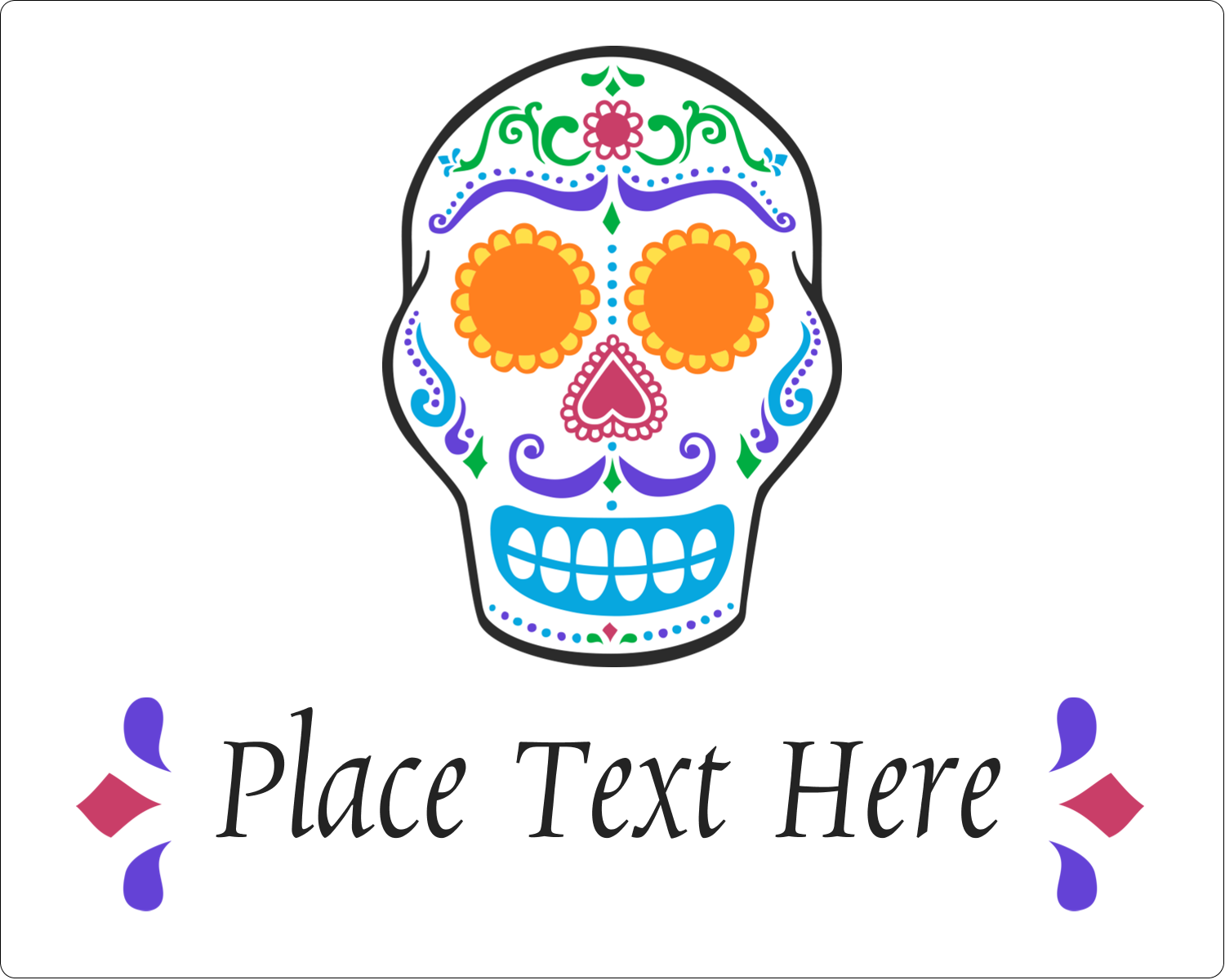 "3"" x 3¾"" Rectangular Label - Day of the Dead Skull"