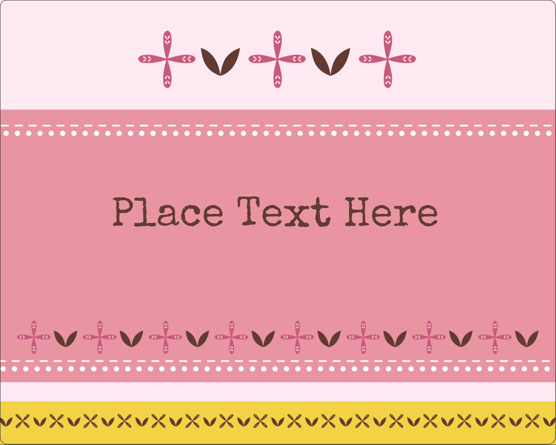 "3"" x 3¾"" Rectangular Label - Geometric Pink Blossoms"