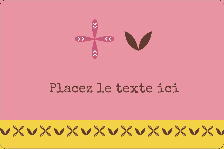 """3"""" x 3¾"""" Étiquettes rectangulaires - Fleurs roses géométriques"""