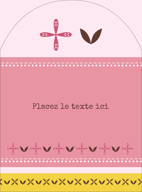 """4¾"""" x 3½"""" Étiquettes rectangulaires - Fleurs roses géométriques"""