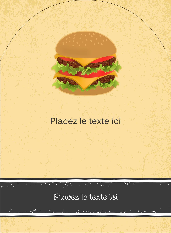 "4¾"" x 3½"" Étiquettes rectangulaires - Hamburger"