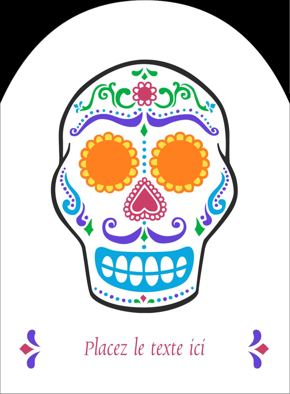 """4¾"""" x 3½"""" Étiquettes rectangulaires - Le jour du Crâne"""