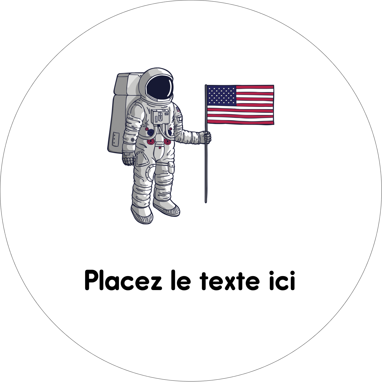 """4¾"""" x 3½"""" Étiquettes arrondies - Astronaute"""