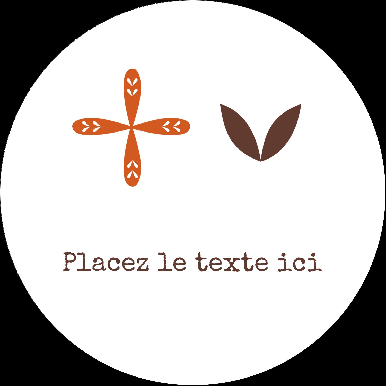 """4¾"""" x 3½"""" Étiquettes arrondies - Fleurs orange géométriques"""