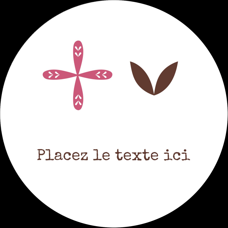 """4¾"""" x 3½"""" Étiquettes arrondies - Fleurs roses géométriques"""