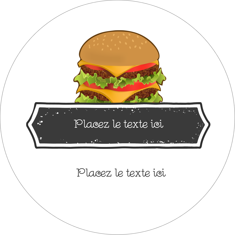 "4¾"" x 3½"" Étiquettes arrondies - Hamburger"