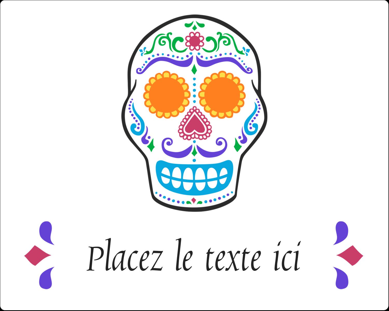 """2"""" Diameter Étiquettes rondes gaufrées - Le jour du Crâne"""