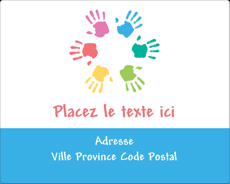 """2"""" Diameter Étiquettes rondes gaufrées - Mains enfantines"""