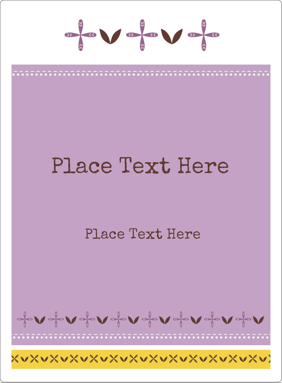 "4¾"" x 3½"" Rectangular Label - Geometric Lavender Blossoms"