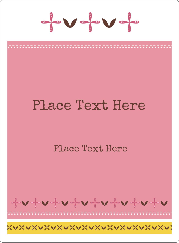 "4¾"" x 3½"" Rectangular Label - Geometric Pink Blossoms"
