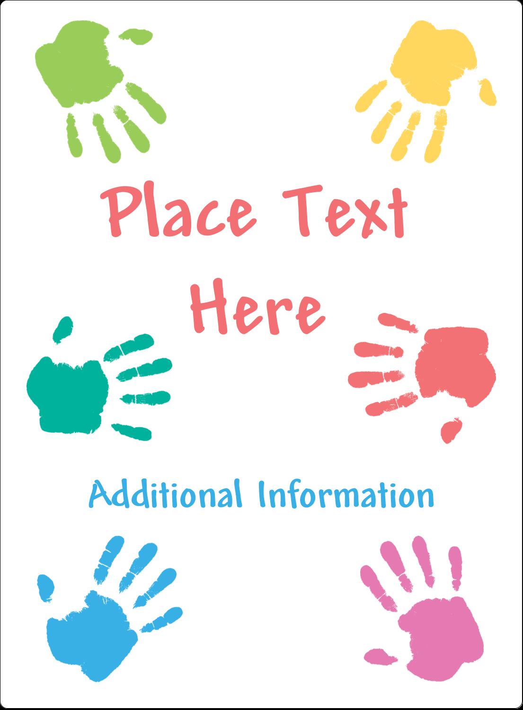 "4¾"" x 3½"" Rectangular Label - Childcare Hands"