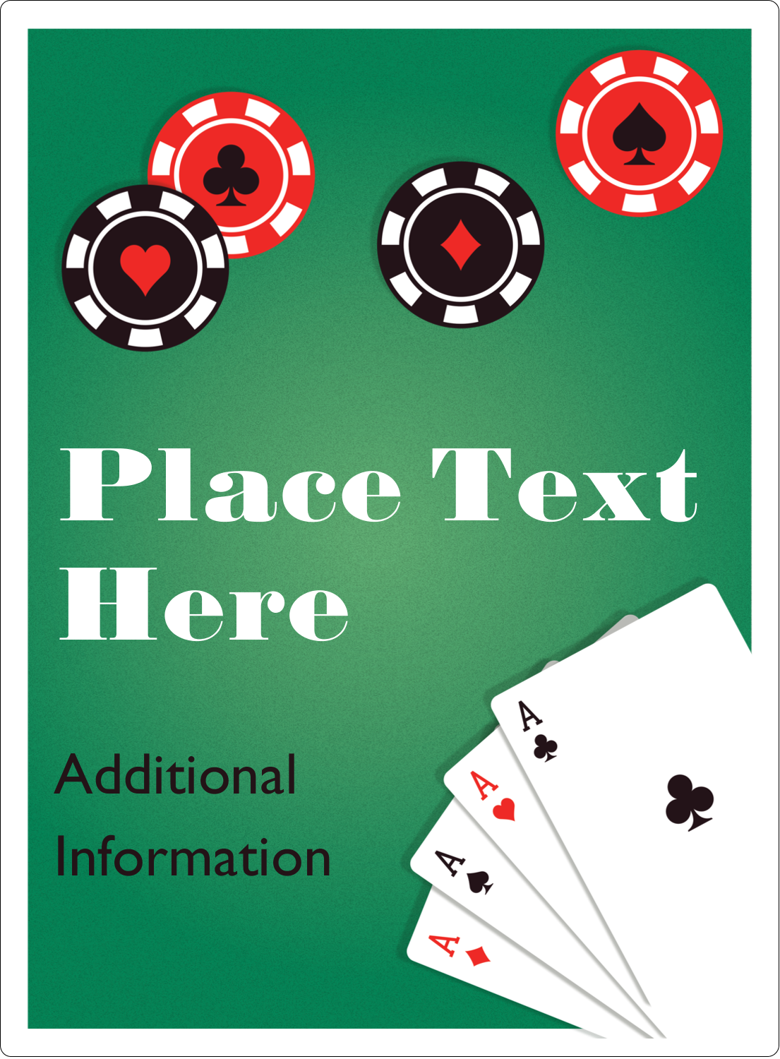 "4¾"" x 3½"" Rectangular Label - Poker Game"