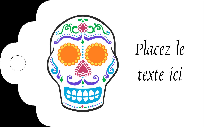 """2"""" x 1⅛"""" Étiquettes imprimables - Le jour du Crâne"""
