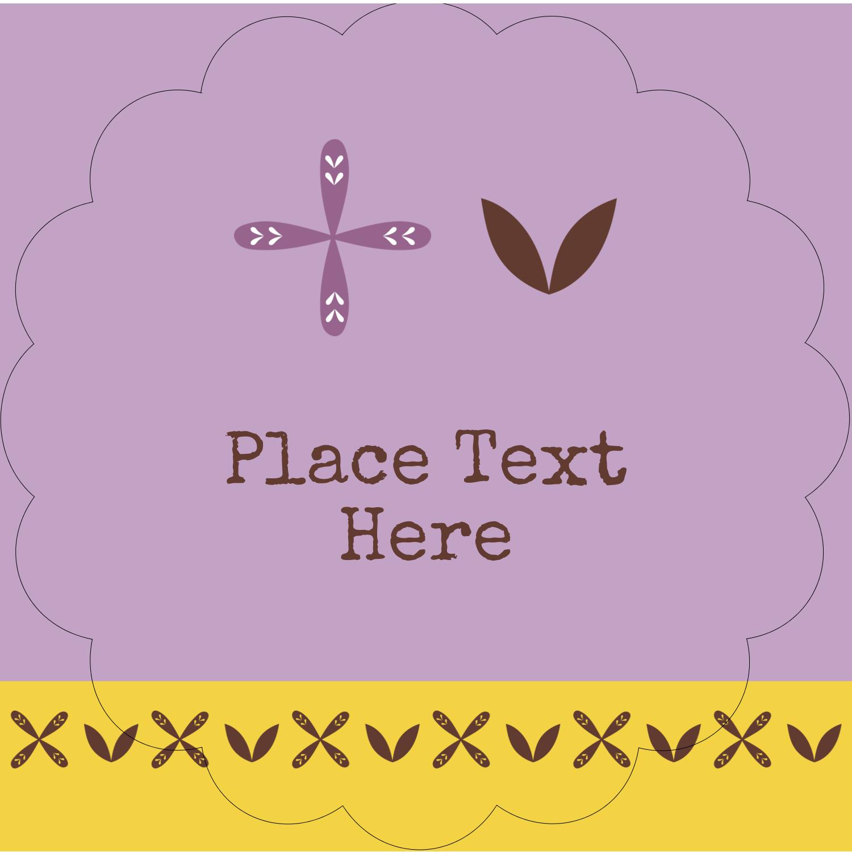 "2½"" Scallop Labels - Geometric Lavender Blossoms"