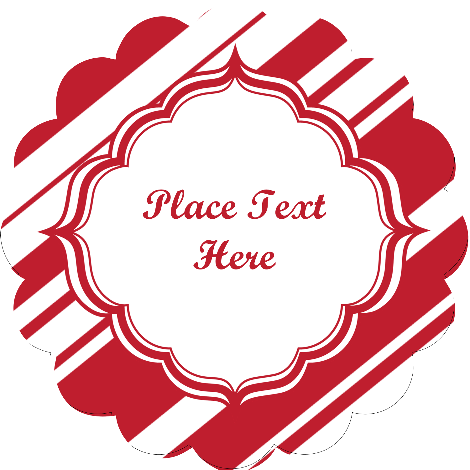 "2½"" Scallop Labels - Candy Cane Pattern"