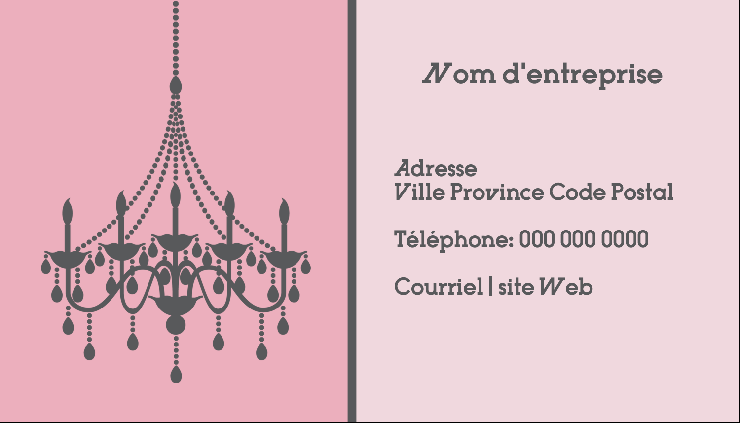 "3½"" x 2"" Carte d'affaire - Chandelier"
