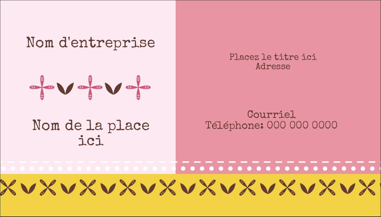 """3½"""" x 2"""" Carte d'affaire - Fleurs roses géométriques"""