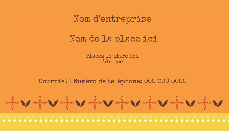 """3½"""" x 2"""" Carte d'affaire - Fleurs orange géométriques"""
