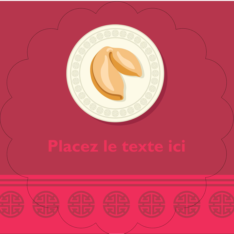 """2½"""" Diameter Étiquettes rondes - Nouvel An chinois avec biscuit"""