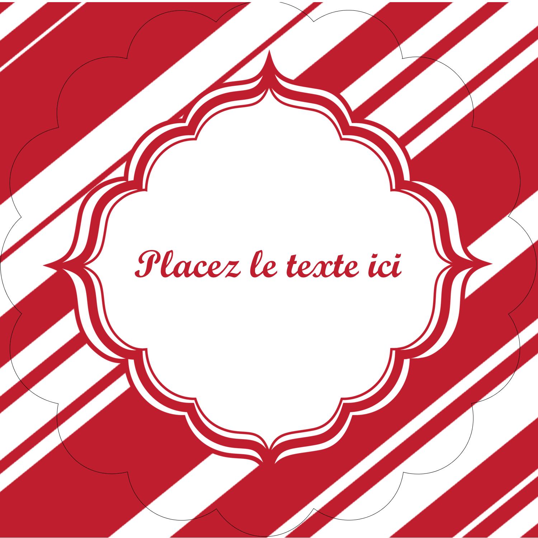 """2½"""" Diameter Étiquettes rondes - Motif de canne de bonbon"""