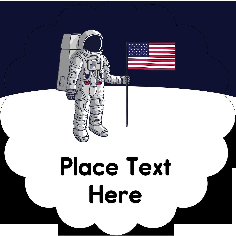 """2½"""" Scallop Labels - Astronaut"""