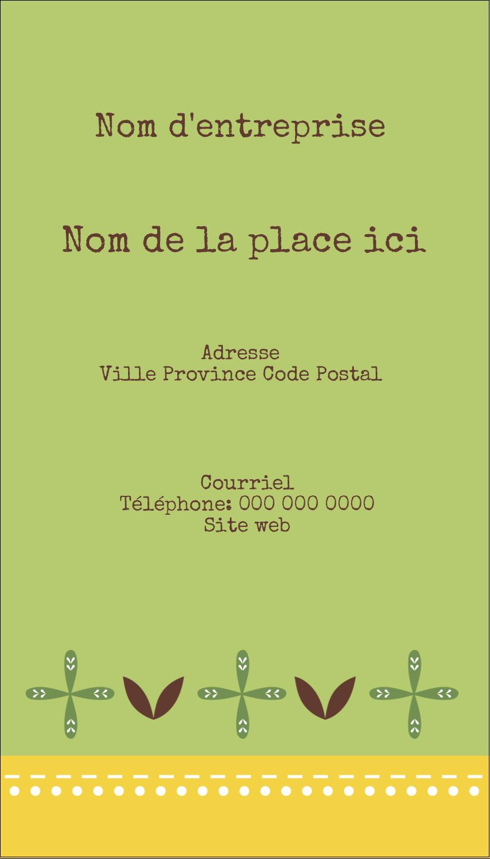 """3½"""" x 2"""" Carte d'affaire - Fleurs vertes géométriques"""