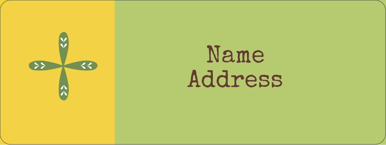 "⅔"" x 1¾"" Address Label - Geometric Green Blossoms"
