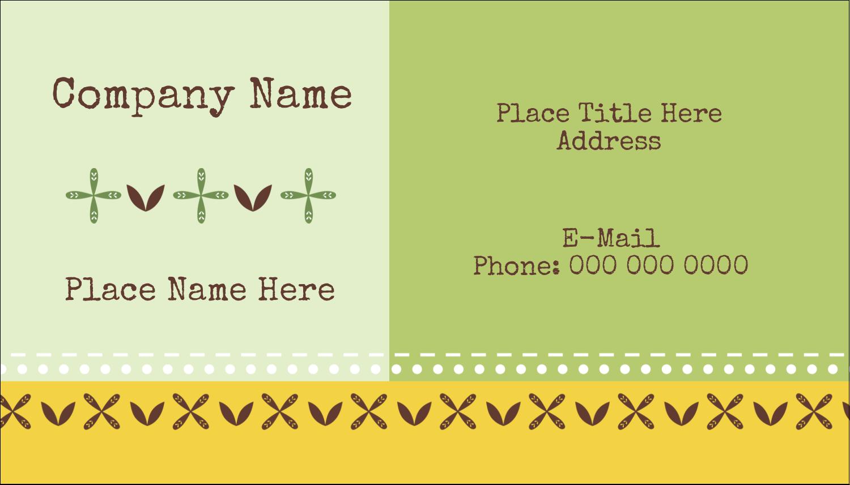 "2"" x 3½"" Business Card - Geometric Green Blossoms"