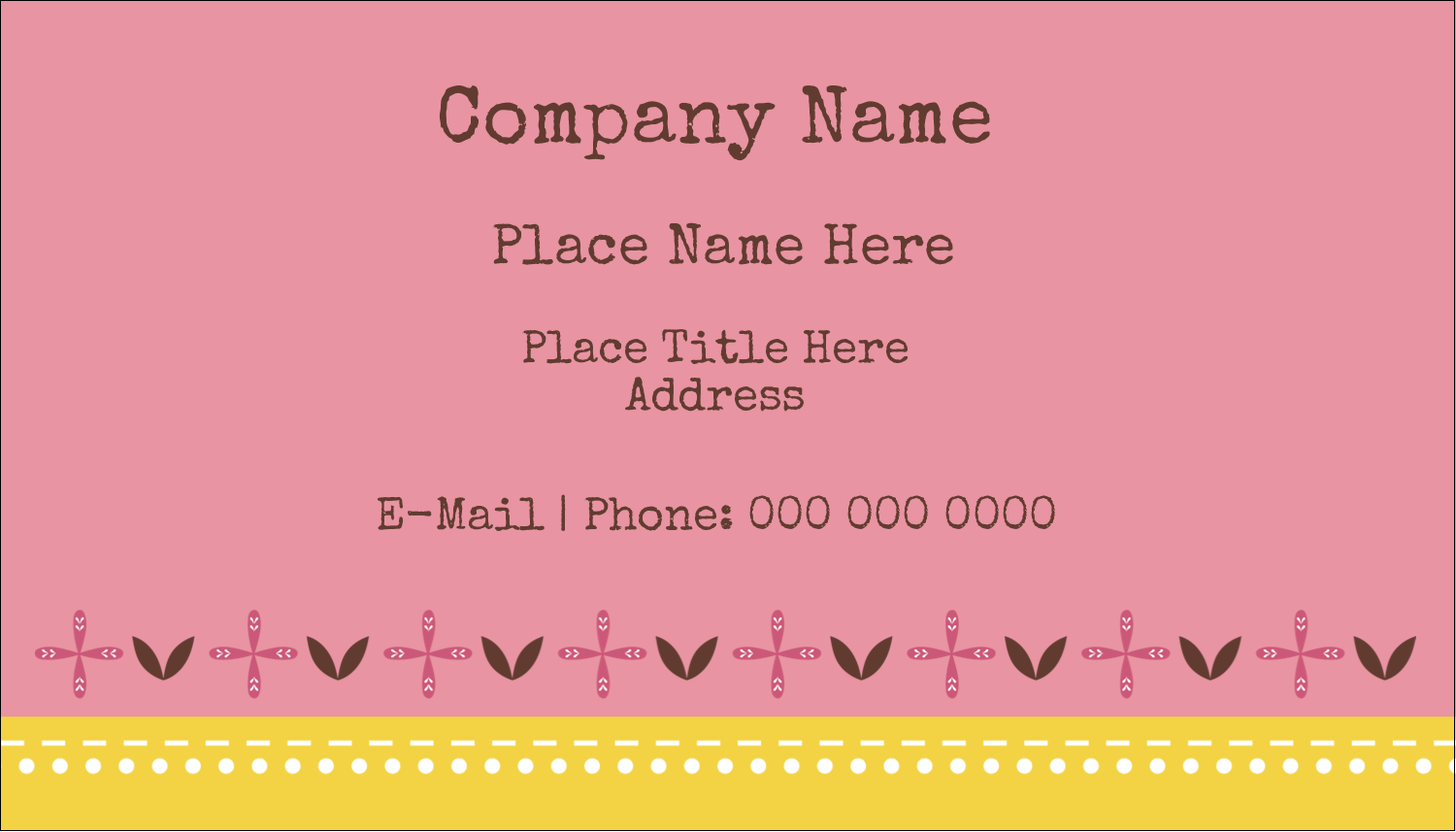 "2"" x 3½"" Business Card - Geometric Pink Blossoms"