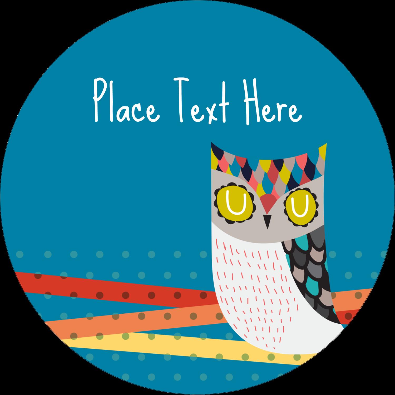 """3"""" Round Label - Artful Owl"""