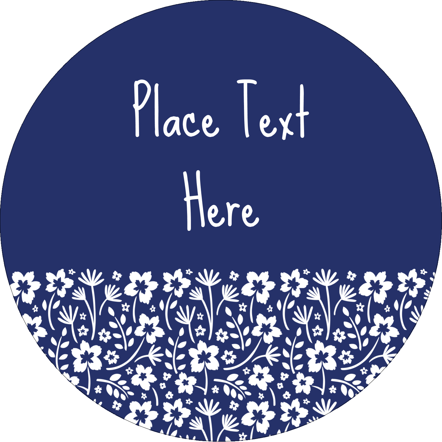 "3"" Round Label - Small Floral Blue"