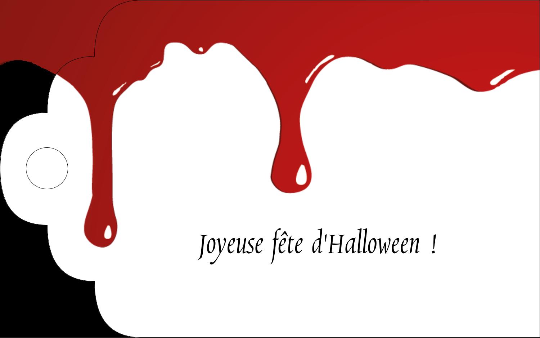 """2"""" x 1⅛"""" Étiquettes imprimables - Halloween sanglante"""