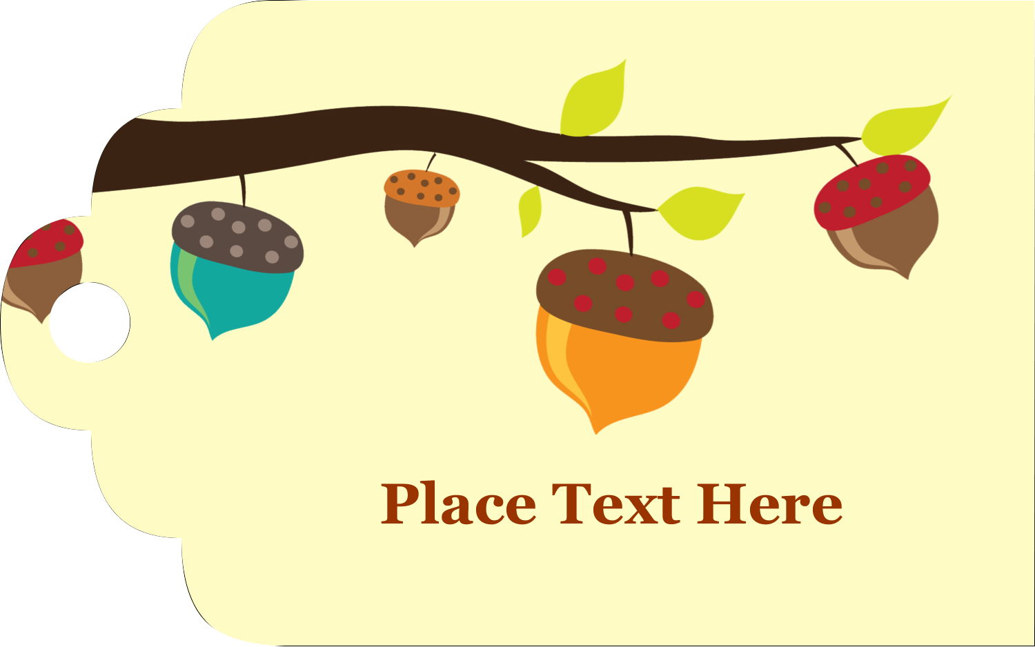 "2"" x 1⅛"" Printable Tags - Acorn Tree"