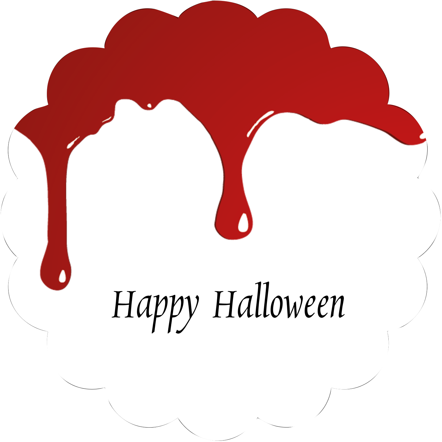 "2½"" Scallop Labels - Bloody Halloween"