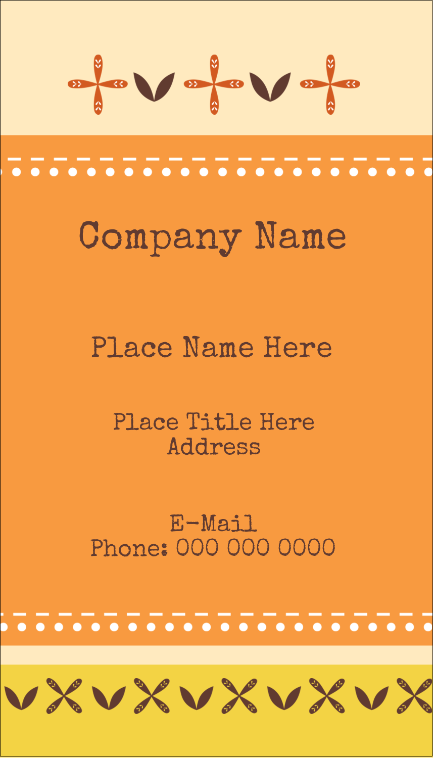 "3½"" x 2"" Business Card - Geometric Orange Blossoms"