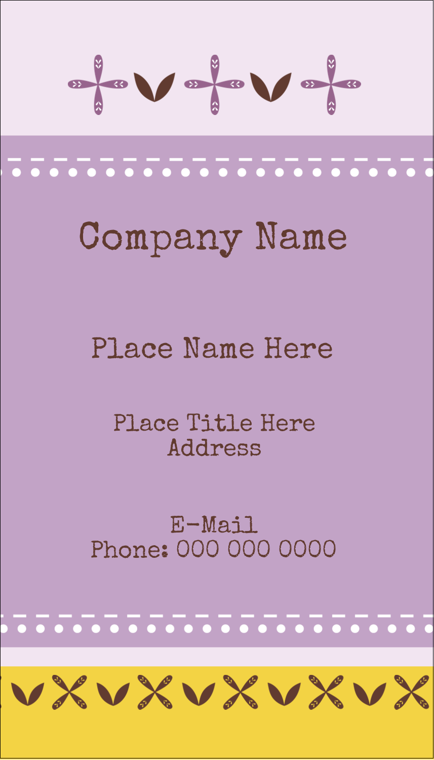"3½"" x 2"" Business Card - Geometric Lavender Blossoms"