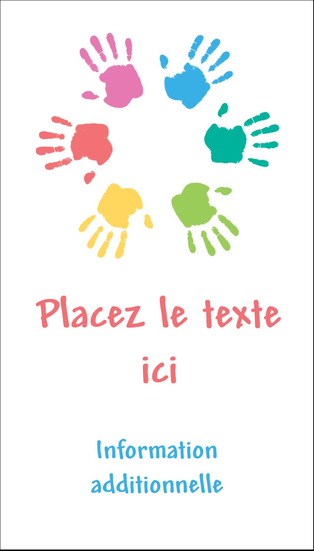 """3½"""" x 2"""" Carte d'affaire - Mains enfantines"""